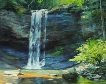 Cherokee Falls Cloudland Canyon Original Painting Waterfall North Georgia Original Painting