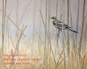 Warbler and Reeds Original Oil Painting on Panel