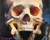 "Skull Painting Original Art ""Died Laughing"" by Kristina Laurendi Havens Skull Decor"