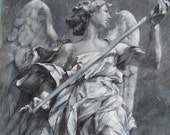 Angel of Hope - Large Original Fine Art Painting of an Italian Sculpture