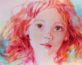 Unique Custom Childs' Portrait Based on Your Photo in Bright, Colorful Watercolor