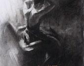 Draw Forth  - Original Charcoal Drawing by Kristina Laurendi Havens - Woman in Black Dress