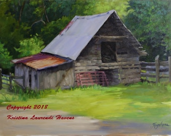 Old Barn with Red Gate in Blue Ridge Gerorgia Original Oil Painting