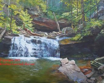 Cloudland Canyon Lower Waterfall North Georgia Original Painting