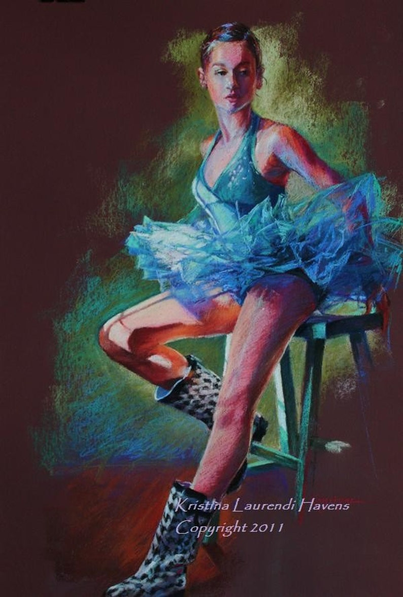 7a3ac4570054c Pastel Drawing of Ballerina in Blue - Large Fine Art Reproduction -