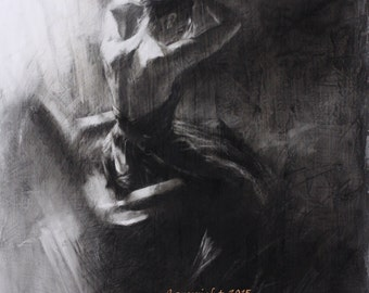 Draw Forth  - Original Charcoal Drawing by Kristina Laurendi Havens - Woman in Black Dress