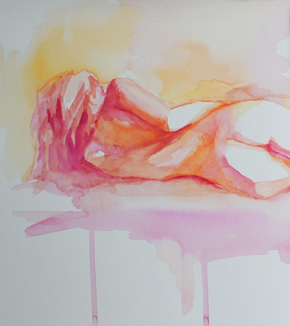 Nude Reclining Female In Citrus Colors Fine Art Print Of A  Etsy-6591