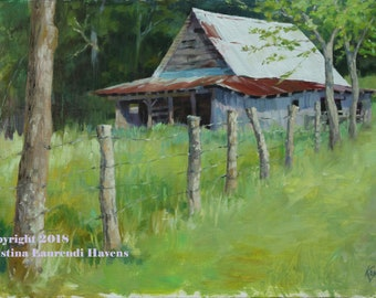 Running Fence and Barn Blue Ridge Gerorgia Original Oil Painting