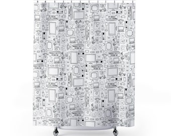 90s Electronics Shower Curtains