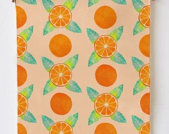 Oranges Dish Towel Handmade From 100% Cotton, Original Fabric Design by Macey Mack, Citrus Fruit Pattern Kitchen Towel