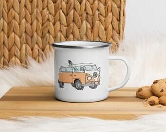 Peach Volkswagen Bus with Surfboard Camp Enamel Mug