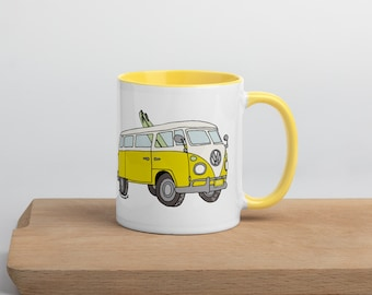 Yellow Volkswagen Bus Coffee Mug with Yellow Inside