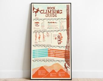 "Rock Climbing 10""x20"" Infographic Poster"