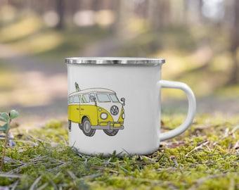 Yellow Volkswagen Bus Enamel Mug