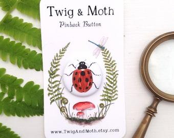 Ladybug Pinback Button - 1 inch Pin-back Nature Badge
