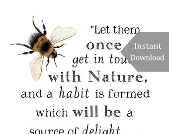 DIGITAL Poster Download - Get in Touch with Nature - 11 x 17 Poster - Charlotte Mason Quote - Educational, Natural History, Nature Study