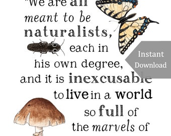 DIGITAL Poster Download - Meant to be Naturalists - 11 x 17 Poster - Charlotte Mason Quote - Educational, Natural History, Nature Study