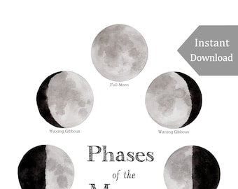 DIGITAL Poster Download - Phases of the Moon - 12 x 18 or 11 x 17 - Printable Nature Art, Charlotte Mason, Montessori, Educational