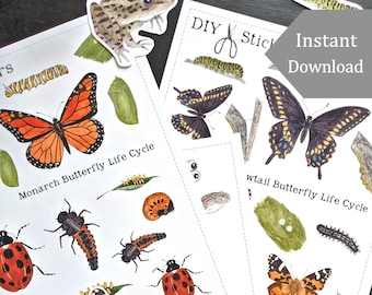 Printable Life Cycle Stickers - 40+ Digital DIY Printable Stickers - Watercolor Illustrations -  Montessori, Science, Insects, Nature Study