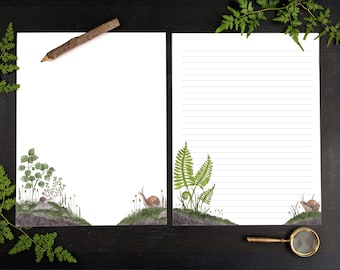 """Snail Mail Printable Letter Writing Papers, Stationery, Editable Envelopes for Kids  - Digital, Woodland, Forest, 8.5""""x11 and  A4"""