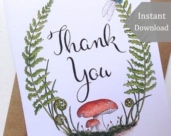 Printable Thank You Cards & Postcards - Digital, Woodland, Typography, Forest, Mushroom, Ferns