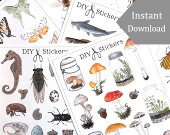 Printable Nature Stickers - 80+ Digital DIY Printable Stickers - Watercolor Illustrations -  Montessori, Science, Insects, Nature Study