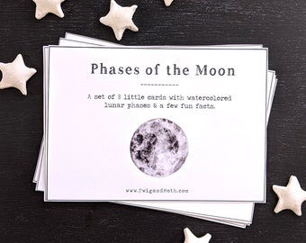 Phases of the Moon Cards - Northern & Southern Hemisphere Sets, Home School Printable, Montessori, Full Moon, Astronomy, Space