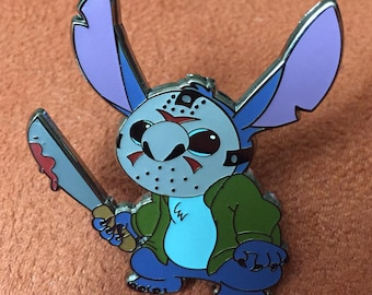 Disney Stitch as Friday the 13th Horror icon Jason Vorhees Fantasy Pin Halloween Christmas