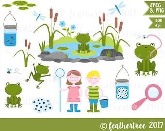 Digital Clipart - Pond Dipping - Frog - Garden Pond - 300 dpi JPEG and PNG files - Instant Download
