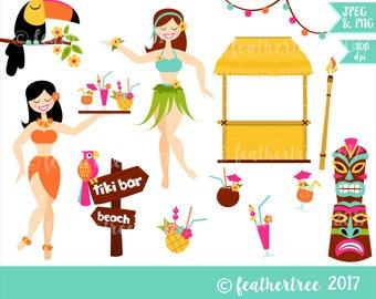 Digital Clipart - Tiki Bar - Hawaii - Luau Party - Hula Themed - 300 dpi JPEG and PNG - Instant Download
