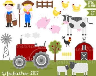 Farm Digital Clipart - Farmer, Tractor, Barn, Cow, Chickens, Pig, Sheep etc - 300 dpi - JPEG and PNG files - Instant Download