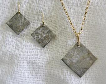 METEORITE Earrings / Necklace Set, solid 18k Gold, for pierced ears, HANDMADE / NEW!