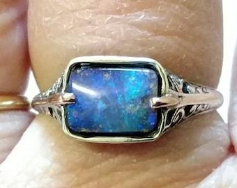 Boulder Opal Ring, Sterling Silver Filigree & 14K Gold, Size 8, Handmade, Unusual Natural Gemstone