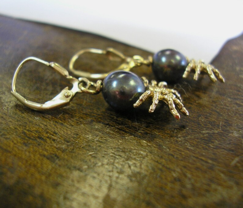 14 kt Gold SPIDER Dangle Earrings South Sea Tahitian Black Pearls Lever Backs for Pierced Ears