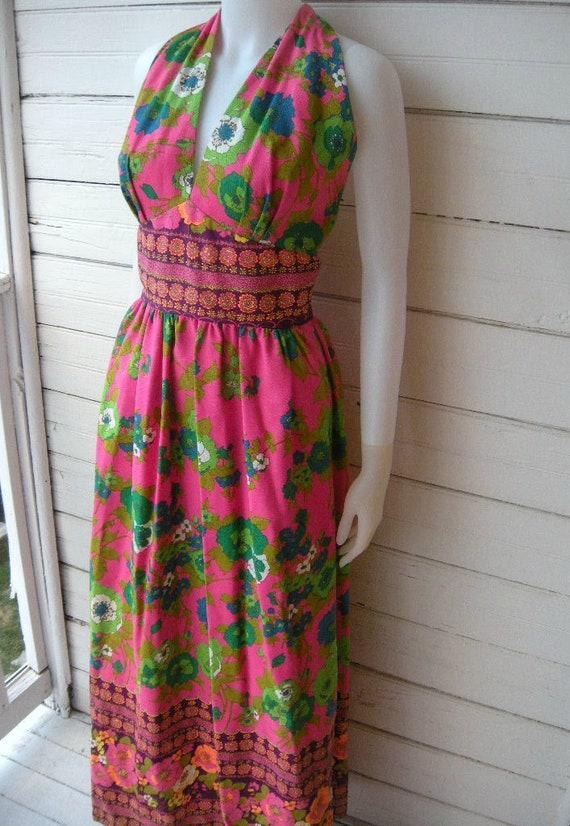 Vintage 1960s Mod Floral Maxi Dress / Sz Small