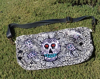 Flowers of the Skull - Flores de la Calaveras Hand Painted Leather Utility Hip and Crossbody Bag