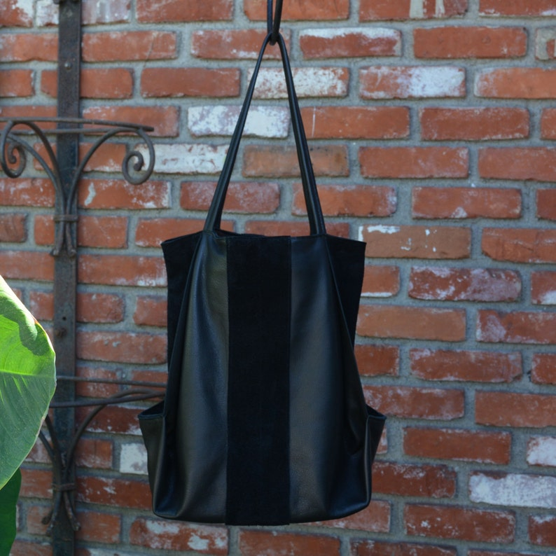 Black Leather & Suede Tote Bag image 0