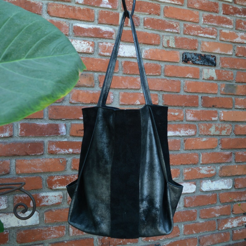 Black Silver Heavy Metal Leather & Suede Tote Bag image 0