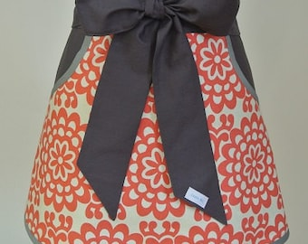 Coral and Cream trimmed in Dark Gray Adult Half Apron with Pockets