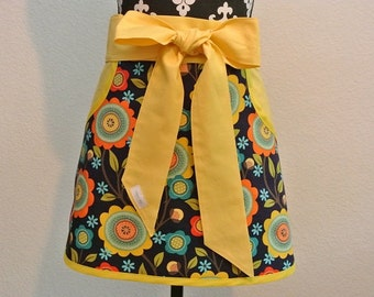 Navy with Teal/Orange/Yellow Flowers Trimmed with Yellow Ties Adult Half Apron