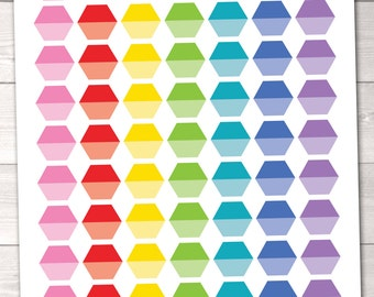 Planner Stickers Ombre Hexagons Printable Planner Sticker Set