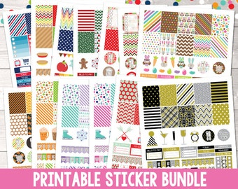 Items similar to BUNDLE 608 Printable planner stickers, gold and colors, sticker kit, planner kit, collection planner stickers 01ABCD on Etsy
