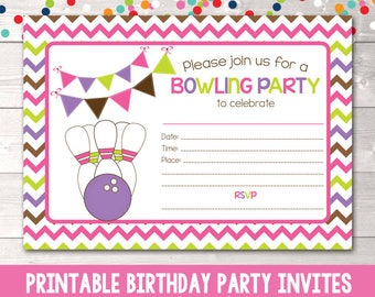 printable bowling party invitation fill in the blank birthday etsy