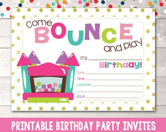 Instant Download Bounce House Birthday Party Invitation Girls Bouncy Castle Invite Printable PDF