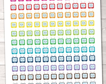 Kawaii TV Sets Printable Planner Stickers Instant Download pdf