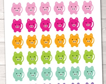 Savings & Budget Planner Stickers Instant Download Printable Planner Sticker PDF Piggy Bank Design