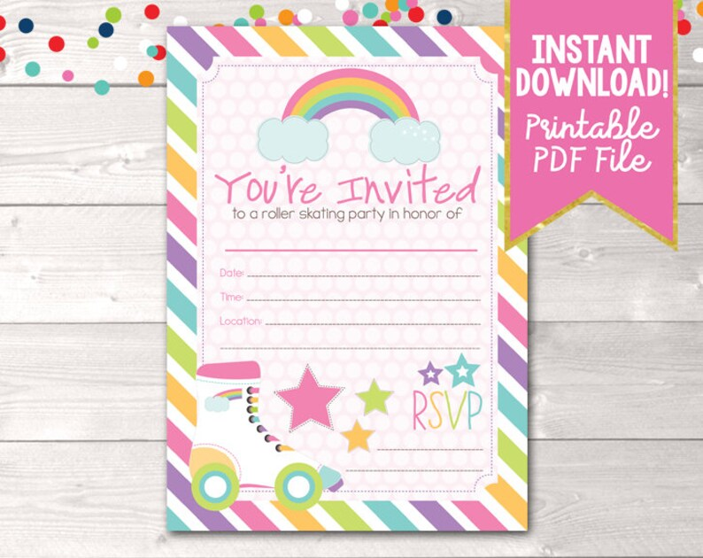 image relating to Girl Birthday Party Invitations Printable named Fill Inside of Roller Skating Celebration Invites Printable Women of all ages Birthday Bash Portray Invitation Fast Obtain