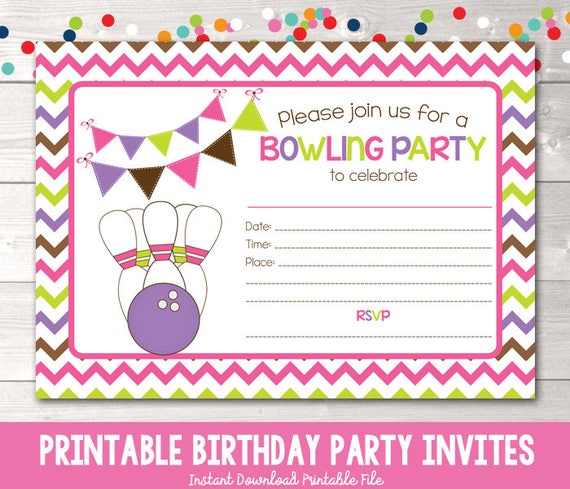 printable girls bowling party invitation fill in the blank etsy