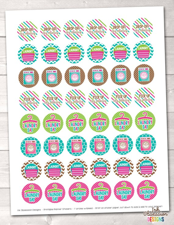 graphic regarding Printable Circle Stickers called Laundry Planner Stickers Quick Obtain Printable Chore