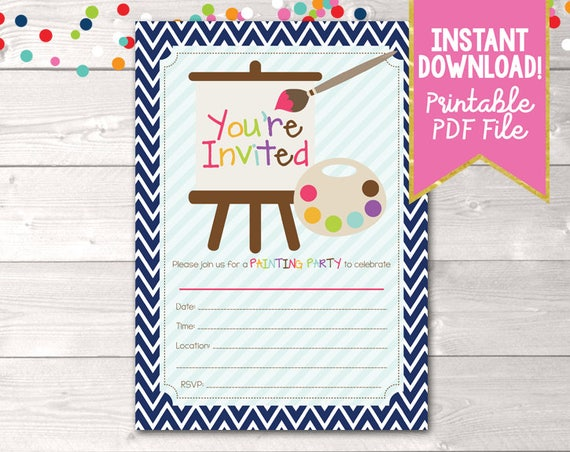 fill in art painting party invitations printable kids birthday party